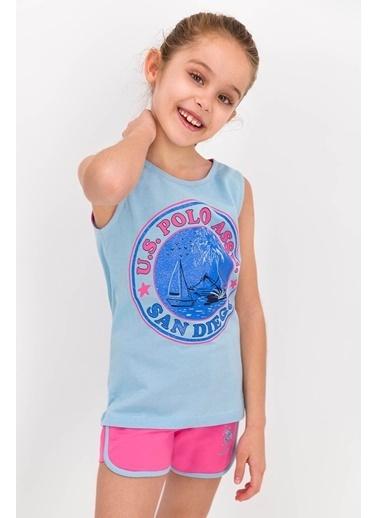 U.S. Polo Assn. U.S. Polo Lisanslı Uçuk Mavi Kız Çocuk Şort Takım Mavi